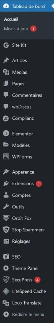 La barre latérale tableau de bord de WordPress