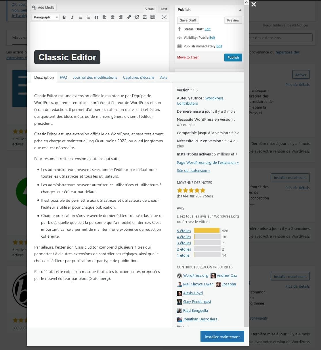 Détaille d'une extension WordPress