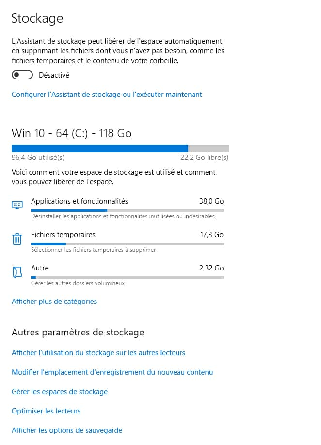 L'interface de stockage Windows 8-11