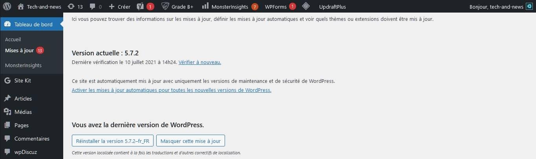 Mise à jour de WordPress dans le tableau de bord
