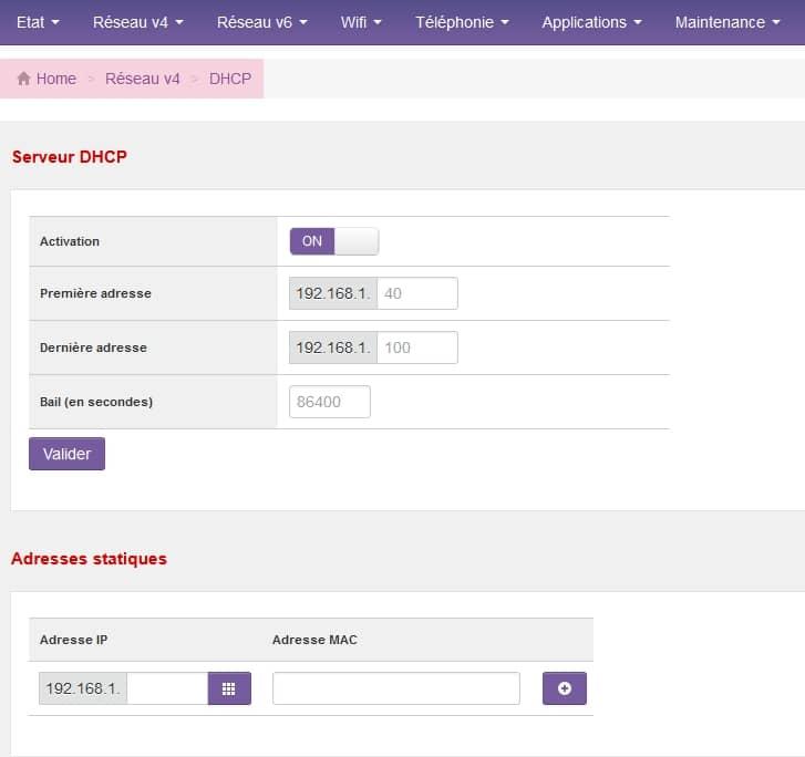 Paramétrage du DHCP de l'IPv4 d'une SFR Neufbox