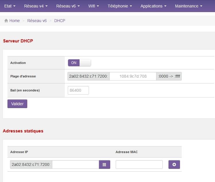 Paramétrage du DHCP de l'IPv6 d'une SFR Neufbox